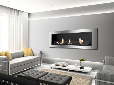 Ardella Ventless Recessed Ethanol Fireplace on a Wall