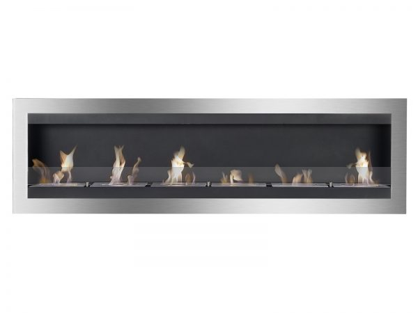 Maximum Black Wall Mounted Ethanol Fireplace - Front View with Flames