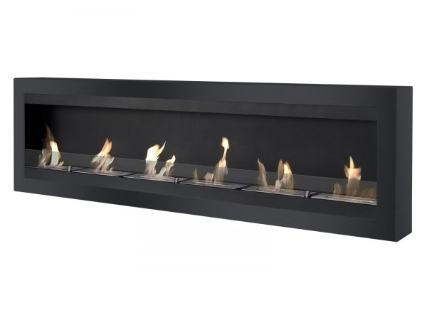 Maximum Black Wall Mounted Ethanol Fireplace - Side View