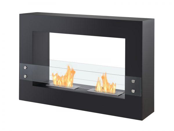 Tectum Black Freestanding Ethanol Fireplace