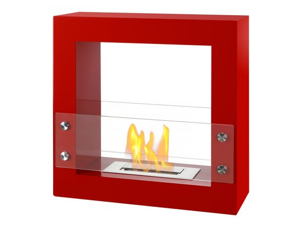 Tectum Mini Red Freestaning Ethanol Fireplace with Flame