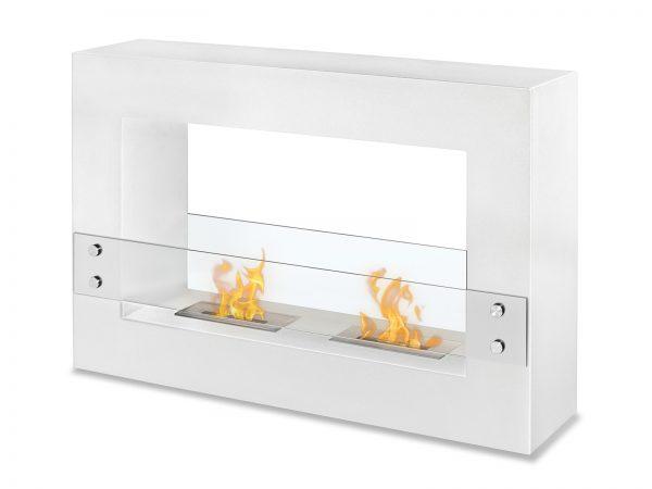 Tectum White - Freestanding Ventless Ethanol Fireplace
