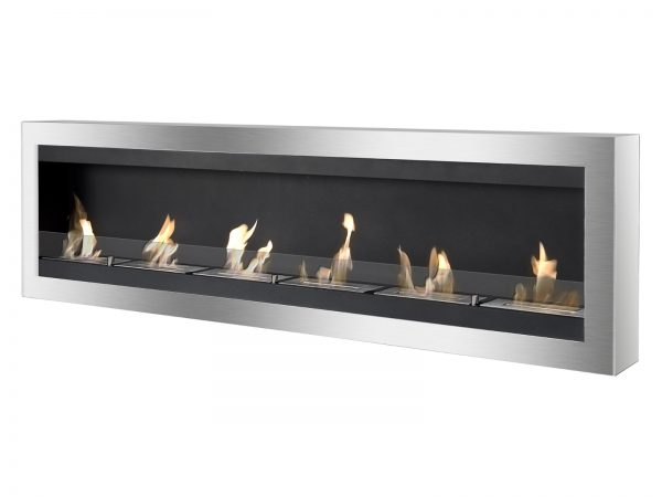 Maximum Black Wall Mounted Ethanol Fireplace - Side View with Flames