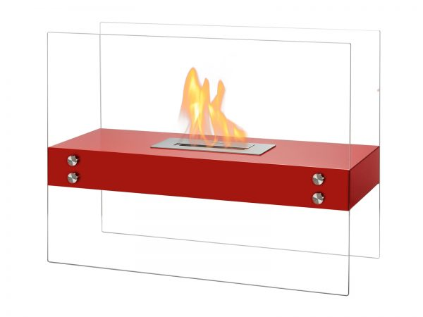 Vitrum H Red Freestanding Ethanol Fireplace