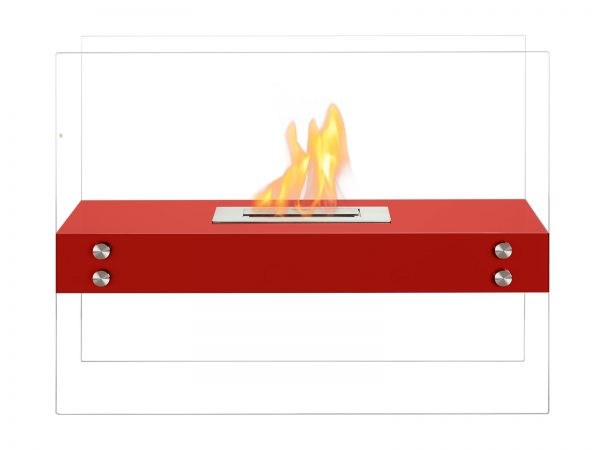 Vitrum H Red Freestanding Ventless Ethanol Fireplace