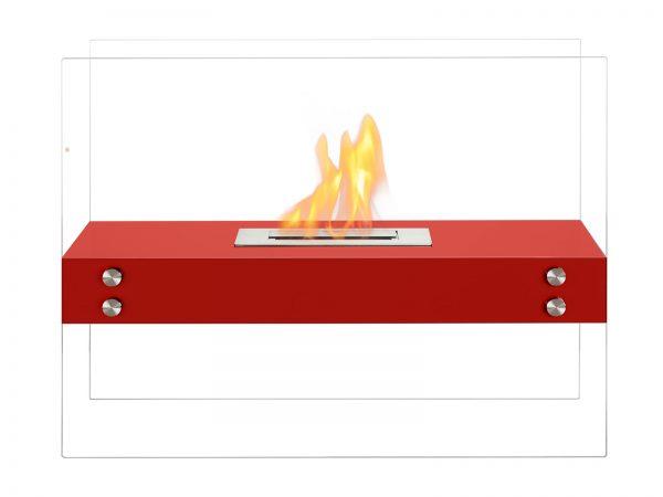 Vitrum H Red Freestanding Ventless Ethanol Fireplace