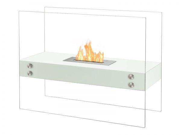Vitrum H White Freestanding Ethanol Fireplace