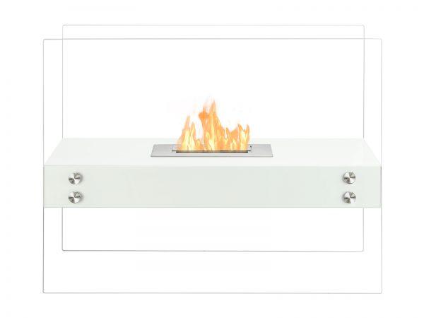 Vitrum H White Freestanding Ventless Ethanol Fireplace