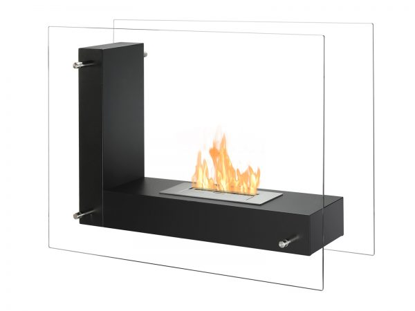 Vitrum L Black Freestanding Ethanol Fireplace