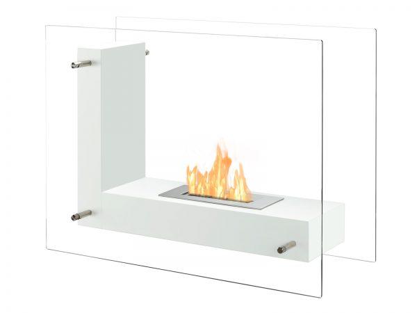 Vitrum L White Freestanding Ethanol Fireplace